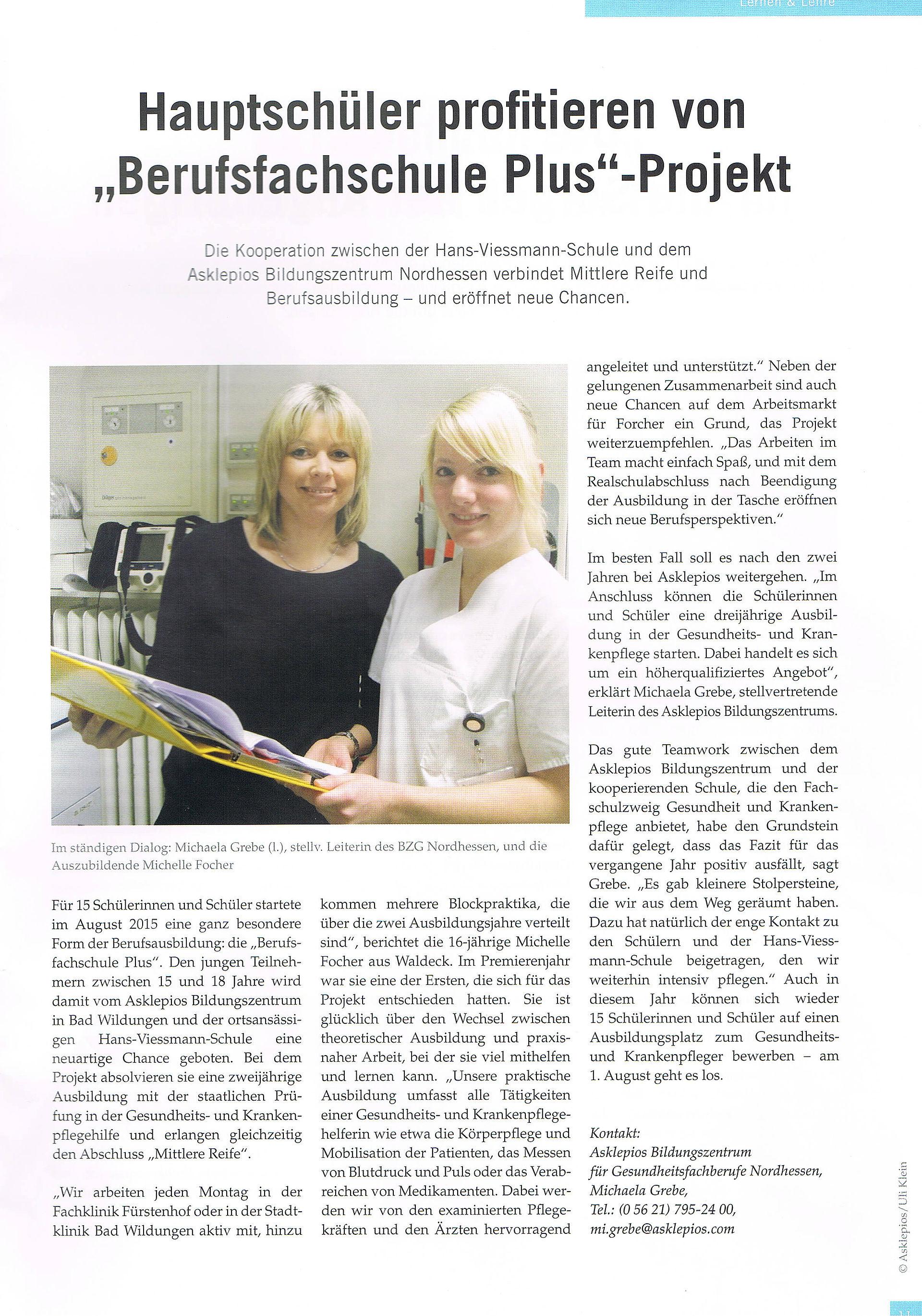 Gesundheit Plus Hans Viessmann Schule Berufliches Kompetenzzentrum